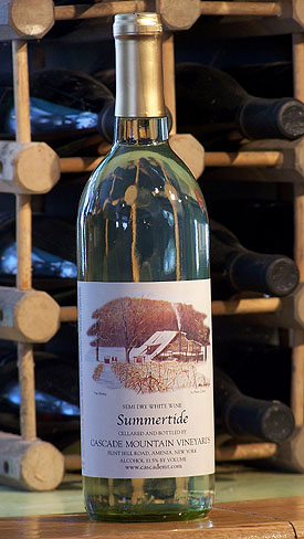 Photo of a bottle of wine from Cascade Mountain Winery
